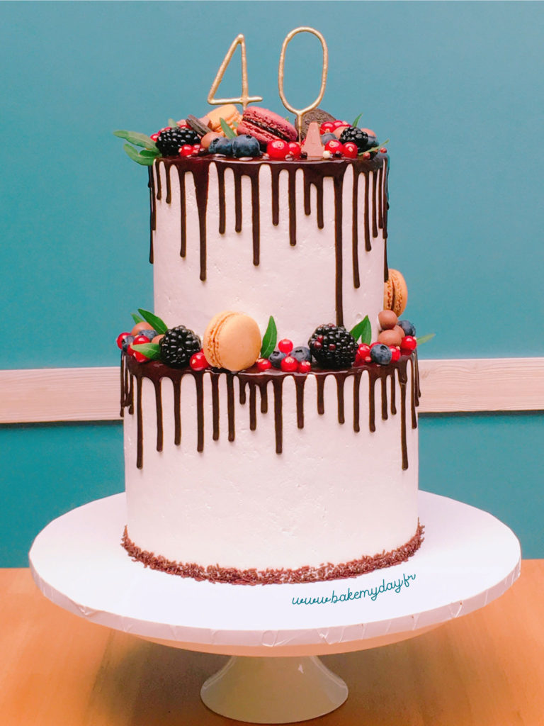 Gateau Anniversaire Coulures Chocolat Et Fruits Bake My Day
